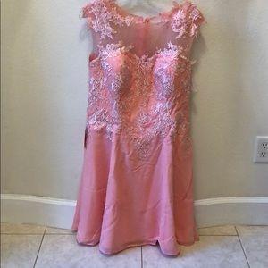 NWT Peach Lace Dress with Jacket
